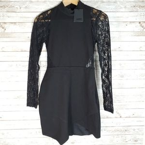 NBD Black Lace Sleeves Back Asymmetrical Dress